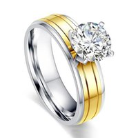 Cluster Rings Wholesale Wedding Engagement Charm Fashion Round For Women Gold Color White CZ Lady Zircon Ring