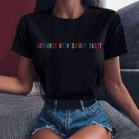 Women's T-Shirt Mulheres hip hop t camisa vintage punk carta casual tratar pessoas com bondade camisetas harajuku senhoras branco camiseta 3K1F