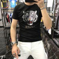 camiseta instual camisa de verano Polo Summer Industria pesada Tigre cabeza de impresión Perforando ocio medio SVE Top Moda de hombre tendencia