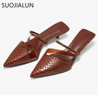 SUOJIALUN New Fashion Brand Low Heel Slippers Women Slip On Pointed Toe Thin Heel Slides Outdoor Casual Mules Ladies Dress Shoes C0407