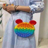 2021 New Fidget Toys Sensory Fashion Makeup coin purse Push Bubble Rainbow Anti Stress Educational Children And Adults Finger Toys