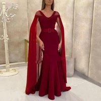 2021 Arabic Sexy Burgundy Prom Dresses V Neck Cap Sleeves Crystal Beads Mermaid With Cape Satin Black Girls Party Evening Gowns Floor Length Sashes