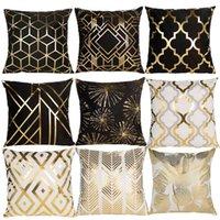 Black White Bronzing Cushion Cover Decorative Pillows Fashion Seat Cushions Home Decor Geometric Throw Pillow Sofa PillowcaseI5L4
