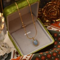 Pendant Necklaces Vintage Oval Sea Blue Natural Opal Jewelry Necklace Women Exquisite Fashion Stainless Steel Gold Chain Clavicle