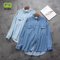 GOPLUS Bayan Gömlek Dönüşü Yaka Denim Bluz Streetwear Mavi Bayan Tops ve Bluzlar Blusas Mujer de Moda 2020 Haut Femme