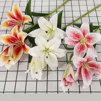 Real Touch Lily Fake Flower Wedding Home Decor Bridal Bouquet Decorative Flowers & Wreaths
