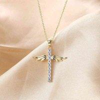 Juwang Angle Wing Cross Christian Prayer Necklace 유니섹스 구리 도금 골드 지르콘 칼라 초커 액세서리