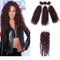 bulks Burgundy Brazilian Human Hair Weaving 3Pcs Curly Wine Red Weave 99J Kinky Curl Bundle Deep Wave With Closure