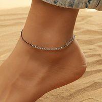 Link, Cadeia Cadeia Morse Código Anklet Escondido Mensagem Preto Corda Bracelete Para As Mulheres Homens Amigo IE Presentes