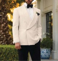 Men's Suits & Blazers Italian Style Ivory And Black Groom Tuxedos Custom Made Mens Wedding Groomsman Attire (Jacket+Pants)