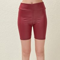 Women's Shorts Solid Color Elastic Artificial Leather Short Club Slim 2021 Fashion Casual Wild Female