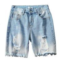 Moruancle Men Moda Strappato Breve Jeans Intrezito Denim Pantaloncini per uomo Plus Size M-5XL Pantaloncini distrutti blu M-5XL con fori