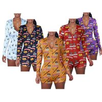 Sexy V tanou Col Crâne Ampom Romper Panda Imprimer Bodycon Sleepwear Body Body Short manches longues
