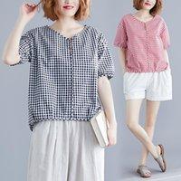 Women's Blouses & Shirts 2021 Summer Fashion Print Blouse Pullover Ladies V-Neck Tops Female Short Sleeve Shirt Blusas Femininas Clothing X1