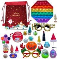 EE. UU. STOCK 24pcs / set Fligable Adviento Calendario Niños Regalo Sensor Juguete Navidad Bolsa de Navidad Fidget Juguetes Adviento Calendario Sea Envío