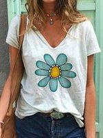 Женские летние повседневные печатные вершины с короткими рукавами TEES V-образным вырезом Пуловер Свободные вершины футболки