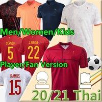 2021 Spagna Soccer Jersey Leader Version Camiseta España Paco Morata A.Iniesta Pique 20 21 European Cup Alcacer Sergio Alba Uomo Donna Kids Kit Uniformi