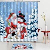 Shower Curtains Christmas Santa Claus Set Snowman Red Bath Screens Mats Kitchen Bathroom Festival Room Decoration Carpets