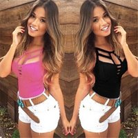 Summer Women Tank Tops Ladies Sexy Casual Sleeveless Bandage Hollow Out Slim Vest T-shirt Camis Gilet Size S-3XL Women's Tanks &