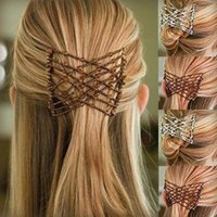 Clips de cheveux 1 pcs peigne magique dames Bead Femmes Soldy Femmes peignes Double diapositive professionnelle Pinceaux de pince en métal