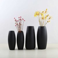 Европейско-стиль керамический офис для дома украшения дома кабинета настольная простая сушеная цветок черная ваза