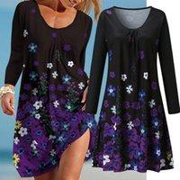 Casual Dresses 2021 Autumn Dress Women Flower Print Beach For O-neck Pocket Long Sleeve Sundress Plus Size