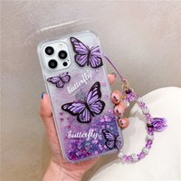 Cajas de teléfono con cadena de color pintadas de mariposa quicksand para iPhone11 12 Pro Promax X XS MAX 7 8 PLUS SAMSUNG S10 S20 S21 Note20 A32 A52 A72 A71