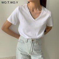 Wotwoy Summer T-shirt de T-shirt de V-Pescoço das Mulheres Algodão Sólido Básico Camiseta Manga Curta Feminina Kintwear Tops Harajuku Tshirt Senhoras