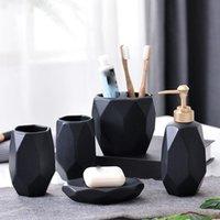 Bath Accessory Set Simple Black Bathroom 5 sets Of Shower Gel Hand Soap Facial Cleanser Dispenser Dish Mouthwash Cup Toothbrush Holder