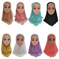 Этническая одежда мусульманские дети девушки хиджаб ислам платок сетки сетки шарф один кусок детей крышка крышка арабских волос выпадение волос молитвенные банданы случайные