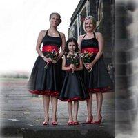 Elegante vintage preto e vermelho cetim halter dama dama dama de dama de honra com sash sem mangas altinada altura do joelho comprimento do casamento vestidos de convidado júnior empregada doméstica de honra
