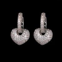 Роскошь Новое Прибытие Серьги Heart Hoop с Кубическими циркониями Серьги для женщин Серьез oorbellen AE358 1731 Q2