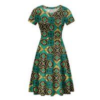 Casual Dresses Custom Print Afro Style Tribe Pattern Printing Women Shorts Sleeves Dress O-Neck Plus Size Robe Femme Lady Beach Vestidos