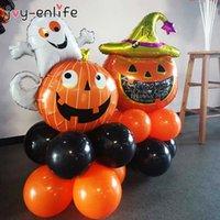 10pcs set Halloween Pumpkin Ghost Witch Bat Foil Balloons Set Halloween Party Decoration Hallowmas Black Orange Ballon Supplies