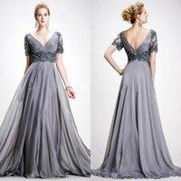 Elegant Gray Vintage Mother Of The Bride Dresses Sexy V Neck Chiffon Lace A Line Backless Wedding Guest Dress 2021 Evening Gown robes de soirée Longue