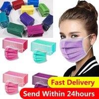 DHL Fast Misurable Face Mask Maschera 3 Strati multi colori antipolvere viso protettivo protettivo maschere anti-polvere salone monouso a bocca aperta maschera partito maschere da partito all'ingrosso
