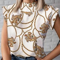 Women Chain Print Blouse Shirts Summer Casual Stand Neck Pullovers Tops Lady Fashion Cute Eye Short Sleeve Blusa Women's Blouses &