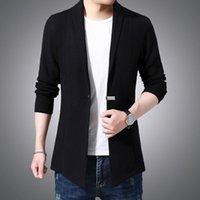 Men's Sweaters 2021 Winter Arriver Knitting Cardigan For Single Button Coat Half Open Collar Soild Color Male Knitweae Tops