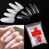 False Nails 500PCS PACK GUOXI Transparent Natural Color Nail Tips Straight Round End Full Half Acrylic French Manicure