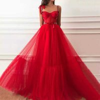 Red Prom Dresses 2021 Formal Women Party Night Vestidos De Noite Elegant Spaghetti Straps Evening Gowns Long Abendkleider