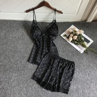 QWEEK Lace Pajamas For Woman Satin Pijama Mujer Sexy Lounge Wear Silk Pyjamas Sleepwear Pjs Set Nightwear Q0524