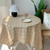 Table Cloth Korean Style Plaid Printed 100%Polyester Tablecloth
