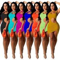Seksi Kadın Elbiseler Tasarımcılar Asılı Bir Omuz Elbise Açık Belly İpli Pileli Kolsuz Tek Parça Etek A001