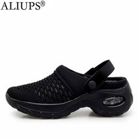Tennis shoes ALIUPS Women Shoes Breathable Mesh 5cm Height increasing Slip on Air Cushion Slippers Outdoor Walking Jogging Sneakers 0911
