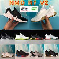 2021 NMD R1 V2 العدائين أحذية الرجال النساء برايمان الجري رياضة أسود أبيض أزرق أورانج مكسيكو مدينة ميتاليك الذهب المدربين مع مربع