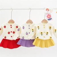 Медведь лидер девушки зимняя одежда набор с длинным рукавом свитер юбка юбка 2 шт. Одежда костюм лук детские наряды для детей одежда для девочек 926 v2