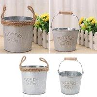 Vintage Galvanizli Metal Demir Çiçek Bahçe Shabby Vazo Pot Varil Ekici Dekor Vazolar