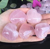 Toy Natural Rose Quartz Quarzo a forma di cuore a forma di cristallo intagliato in cristallo Palma Amore Guarigione Gemstone Amante Gita Gremme Stone Gemme