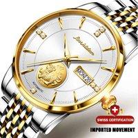 デザイナーの高級ブランドの時計Dun自動男性本物の金Pixiu Sapphireクリスタルメカニカル片Stianless Steel ES