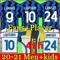 Inter 2020 2021 Jersey de futebol Lukaku Milão Vidal Barella Lautaro Eriksen Alexis Hakimi 20 21 Uniformes de Camisa de Futebol Homens + Kid Kids 4th Quarto